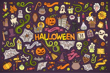 brujas caricatura: Colorido vector de la mano Conjunto de la historieta dibujada Doodle de objetos y s�mbolos en el tema de Halloween