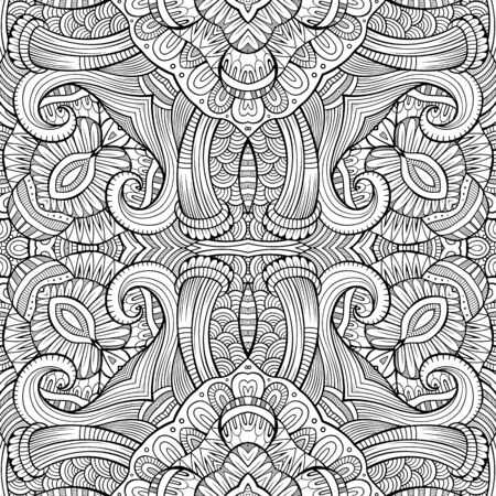 vitrage: Abstract vector decorative ethnic hand drawn sketchy contour seamless pattern