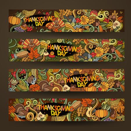 漫画では、感謝祭をテーマに手描き落書きをベクトルします。水平方向のバナー デザイン テンプレート セット