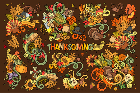 thanksgiving day symbol: Colorful vettore mano disegnato insieme cartone animato Doodle di oggetti e simboli sul tema autunno del Ringraziamento
