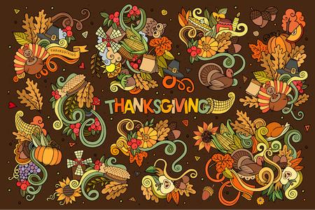 cuerno de la abundancia: Colorido vector de la mano Conjunto de la historieta dibujada Doodle de objetos y s�mbolos en el tema del oto�o de Acci�n de Gracias
