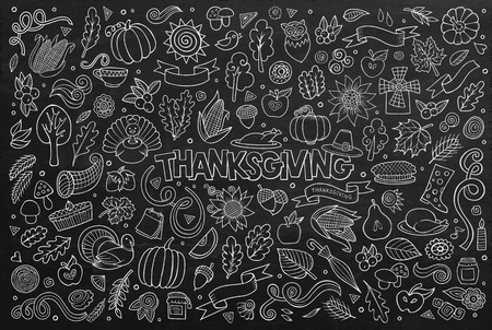 wet leaf: Chalkboard vector hand drawn Doodle cartoon set of objects and symbols on the Thanksgiving autumn theme Illustration