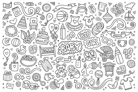 Sketchy hand drawn Doodle cartoon set of objects and symbols on the baby theme Illustration