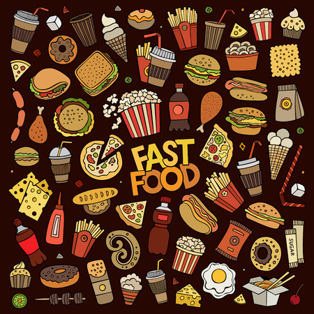 hand set: Colorful hand drawn Doodle cartoon set of objects and symbols on the fast food theme