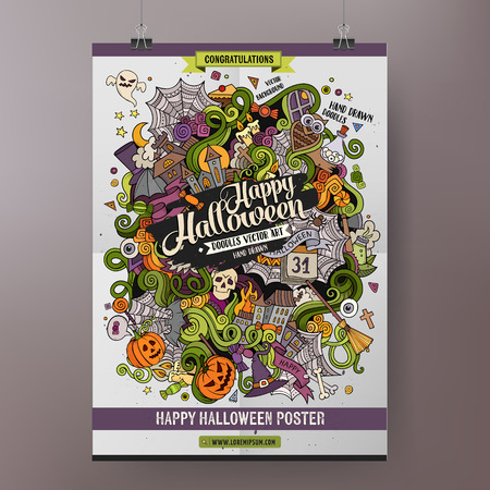 calavera caricatura: De dibujos animados garabatos mano colorido Feliz Halloween dibujado ilustraci�n. Dise�o del vector plantilla del cartel Vectores