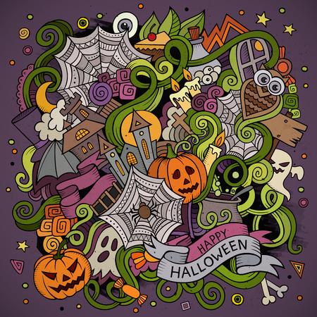 brujas caricatura: Dibujado a mano de dibujos animados garabatos sobre el tema de Halloween de los símbolos, los alimentos y las bebidas de colores de fondo