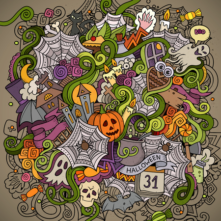 ghost cartoon: Cartoon hand-drawn Doodles on the subject of Halloween symbols, food and drinks colorful background