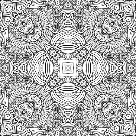 flower patterns: Abstract decorative ethnic hand drawn sketchy contour seamless pattern