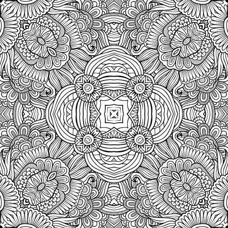 patrones de flores: Mano étnica decorativo abstracto contorno esquemático dibujado patrón transparente