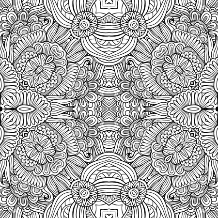 tribal pattern: Abstract decorative ethnic hand drawn sketchy contour seamless pattern