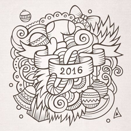 sketchy illustration: 2016 New year doodles elements background. sketchy illustration Illustration