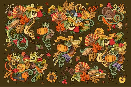 cuerno de la abundancia: La mano de colores Conjunto de la historieta dibujada Doodle de objetos y s�mbolos en el tema del oto�o de Acci�n de Gracias