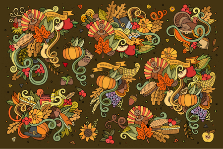 Colorful hand drawn Doodle cartoon set of objects and symbols on the Thanksgiving autumn theme Illustration