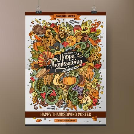 calabaza caricatura: De dibujos animados garabatos colorido mano Feliz Acción de Gracias dibuja ilustración. diseño de la plantilla del cartel