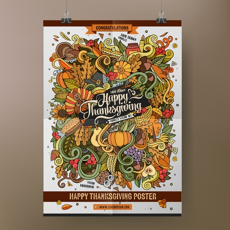 Doodles cartoon colorful Happy Thanksgiving hand drawn illustration. template poster design Illustration