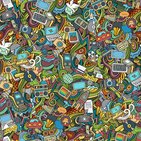 Cartoon hand-drawn Doodles on the subject of social media, internet, technical, computer, transport icons and symbols seamless pattern. Colorful background
