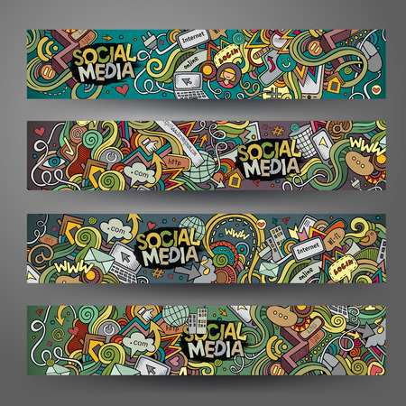 social web sites: Cartoon hand-drawn social media, internet doodles. Horizontal banners design templates set