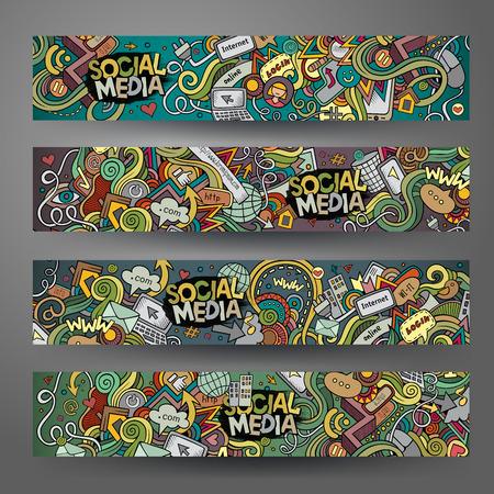 médias: Cartoon tracé manuel des médias sociaux, griffonnages Internet. bannières horizontales modèles de conception définies