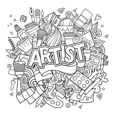 pallette: Artiste main lettrage et les éléments des doodles emblème. illustration main sommaire dessinée