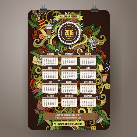 time of the year: Doodles hand drawn colorful cartoon coffee time Calendar 2016 year design, English, Sunday start. Illustration