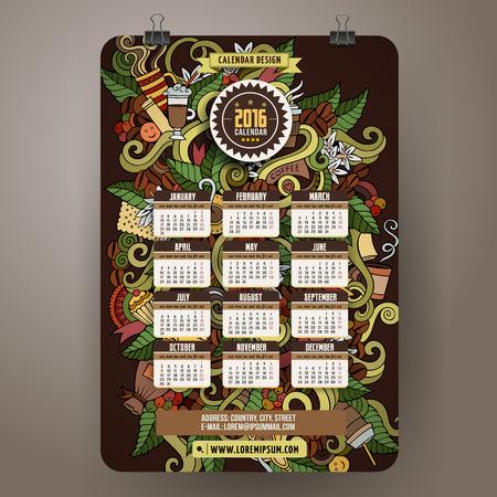 turkish dessert: Doodles hand drawn colorful cartoon coffee time Calendar 2016 year design, English, Sunday start. Illustration