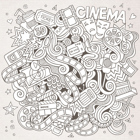 holiday blockbuster: Cartoon hand-drawn Cinema Doodle. Sketchy design background with objects and symbols.