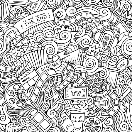 holiday blockbuster: Cartoon doodles hand drawn cinema seamless pattern Illustration