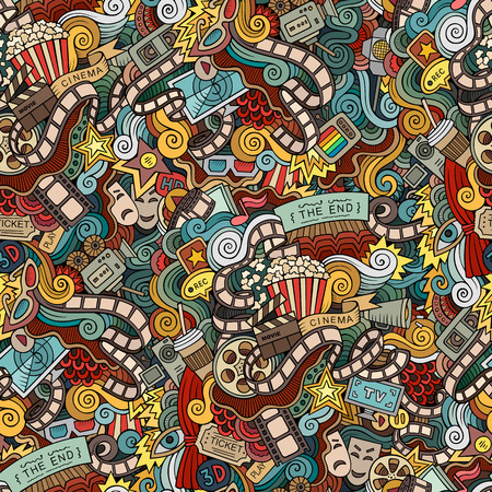 film: Cartoon doodles hand drawn cinema, movie, film seamless pattern