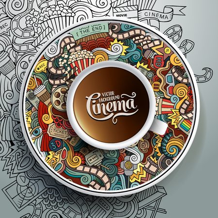 palomitas: ilustración con una taza de café y garabatos dibujados a mano Cine en un platillo y de fondo Vectores