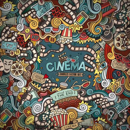 camara de cine: Cartoon dibujados a mano marco Cine Doodle. Diseño de fondo colorido con objetos de películas y símbolos frontera.