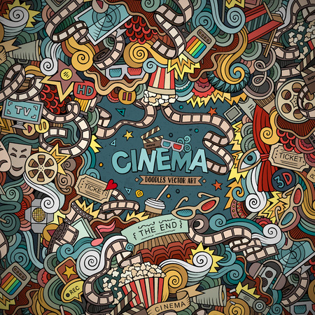 cinema ticket: Cartoon hand-drawn Cinema Doodle frame. Colorful design background with movie objects and symbols border.