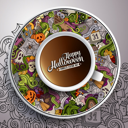 bezel: illustration with a Cup of coffee and hand drawn Halloween doodles on a saucer and background