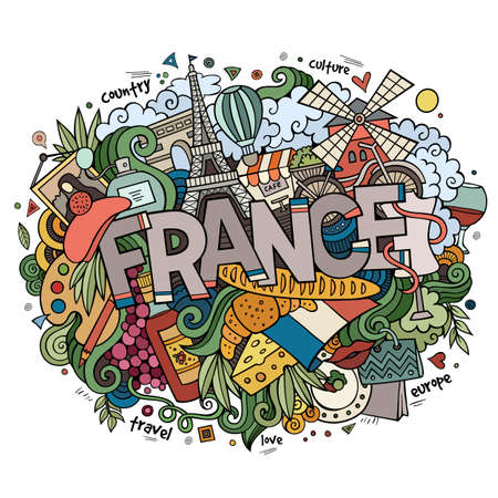 France country hand lettering and doodles elements and symbols background. hand drawn illustration