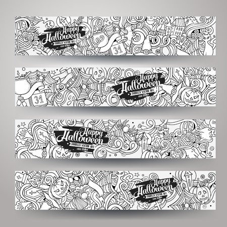 ghost cartoon: Cartoon hand-drawn sketchy Doodle on the subject of Halloween. Horizontal banners design templates set Illustration