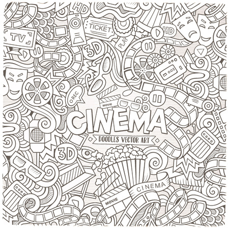 cine: Cartoon hand-drawn Cinema Doodle frame. Sketchy design background with movie objects and symbols border.