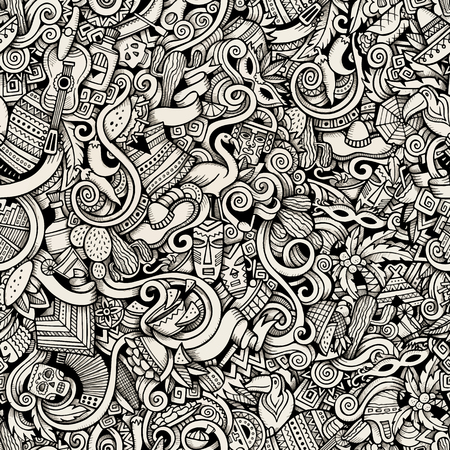 machu: Cartoon hand-drawn Doodles on the subject of Latin American style theme seamless pattern