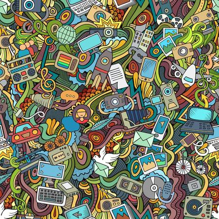 medios de comunicación social: Diseñada a mano de dibujos animados garabatos sobre el tema de las redes sociales, internet, técnico, equipo, iconos de transporte y símbolos sin patrón. Fondo colorido