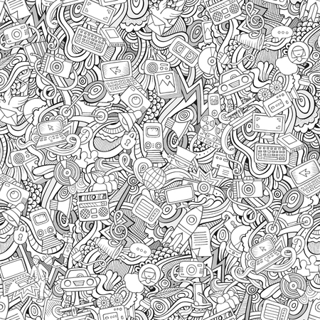 Cartoon hand-drawn Doodles on the subject of social media, internet, technical, computer, transport icons and symbols seamless pattern. Sketchy background