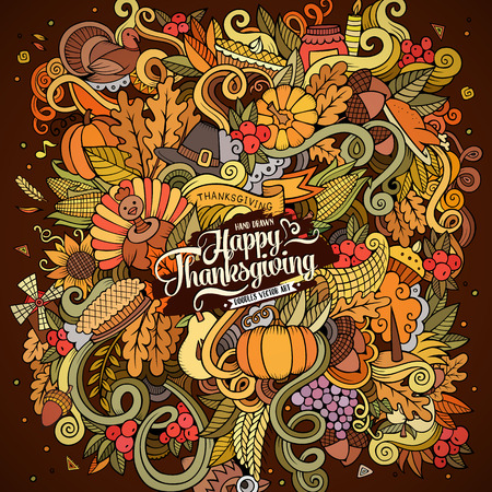 cornucopia: Cartoon hand drawn Doodle Thanksgiving illustration. Colorful design background with objects and symbols.