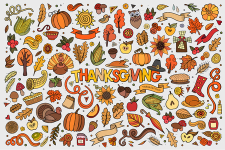 cuerno de la abundancia: La mano de colores Conjunto de la historieta dibujada Doodle de objetos y símbolos en el tema del otoño de Acción de Gracias