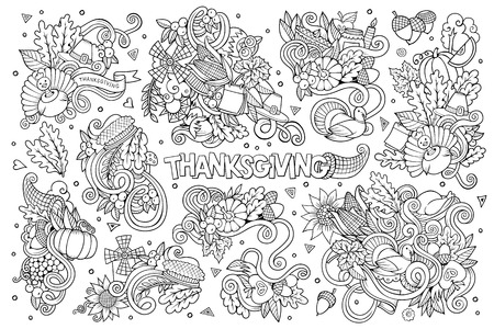 wet leaf: Sketchy hand drawn Doodle cartoon set of objects and symbols on the Thanksgiving autumn theme Illustration