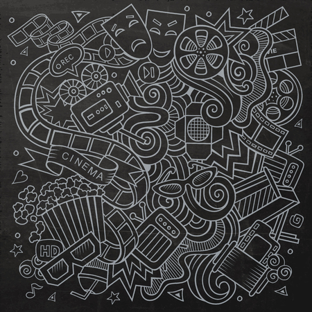 film star: Cartoon hand-drawn Cinema Doodle. Chalkboard design background with objects and symbols. Illustration