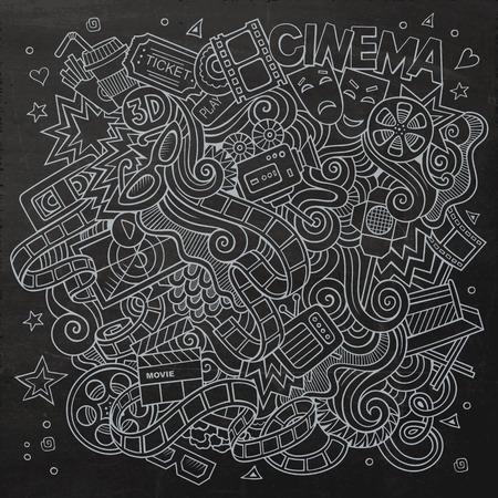 cine: Cartoon hand-drawn Cinema Doodle. Chalkboard design background with objects and symbols. Illustration