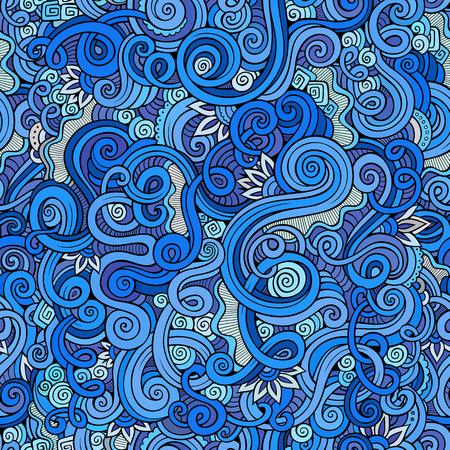 Декоративная рисованной каракули природа декоративный завиток схематичны бесшовные модели Иллюстрация