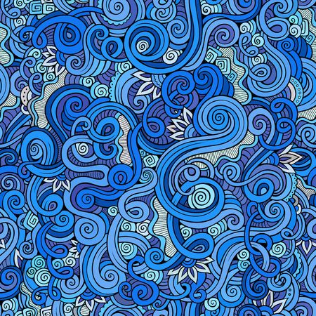 Decorative hand drawn doodle nature ornamental curl sketchy seamless pattern