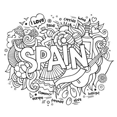 Spanje land de hand belettering en doodles elementen en symbolen achtergrond Vector Illustratie