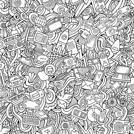 Cartoon hand-drawn Doodles on the subject of social media, internet, technical, computer, transport icons and symbols seamless pattern Illustration