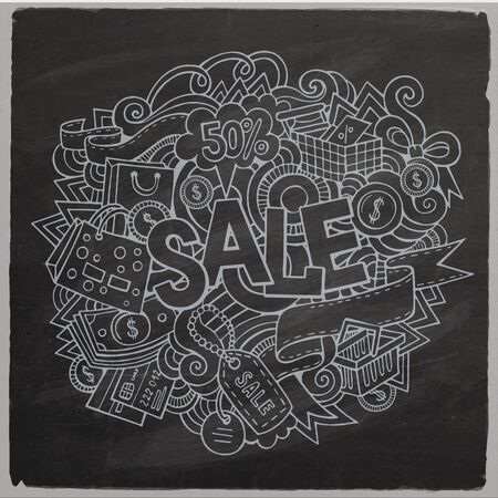sign board: Sale hand lettering and doodles elements and symbols background