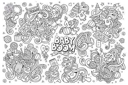 baby bottle: Sketchy hand drawn Doodle cartoon set of objects and symbols on the baby theme Illustration