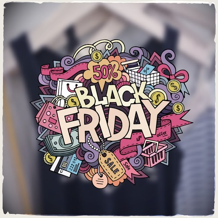 black woman: Black Friday sale hand lettering and doodles elements and symbols background